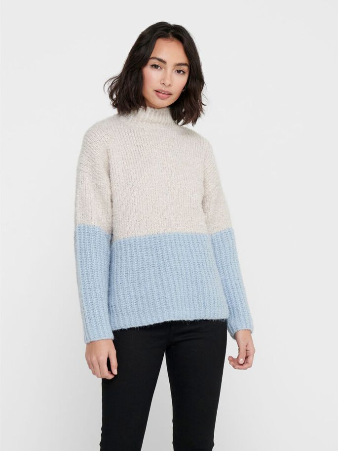 CONTRAST COLORED KNITTED PULLOVER, Pumice Stone, large