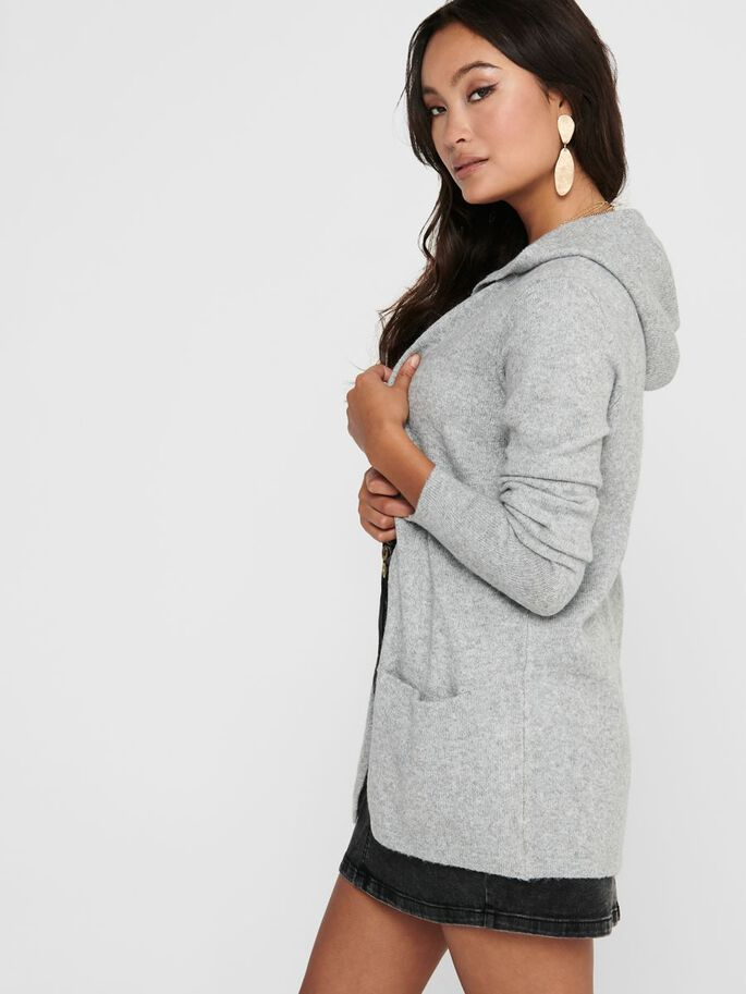 CAPUCHE CARDIGAN EN MAILLE, Light Grey Melange, large