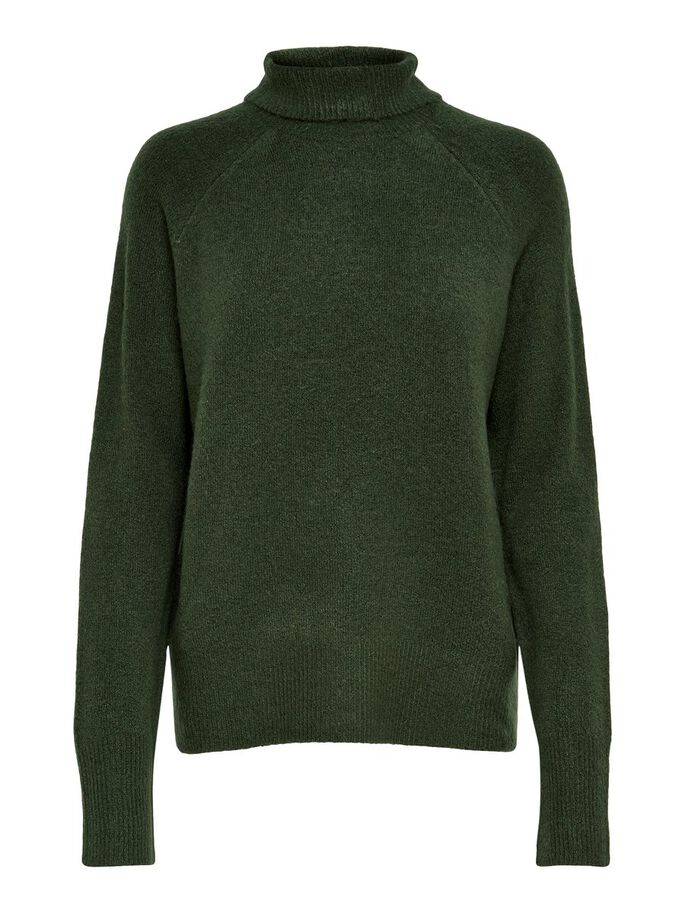 COL ROULÉ PULL EN MAILLE, Forest Night, large