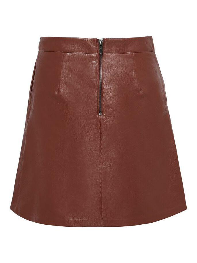 FAUX LEATHER SKIRT, Fired Brick, large