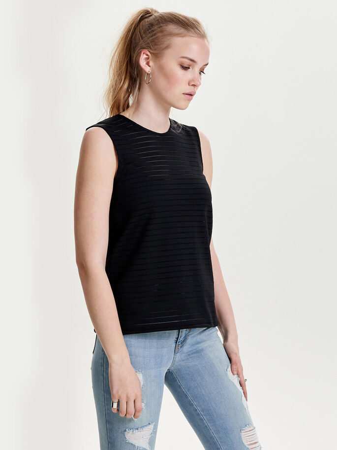 GESTREEPTE MOUWLOZE TOP, Black, large