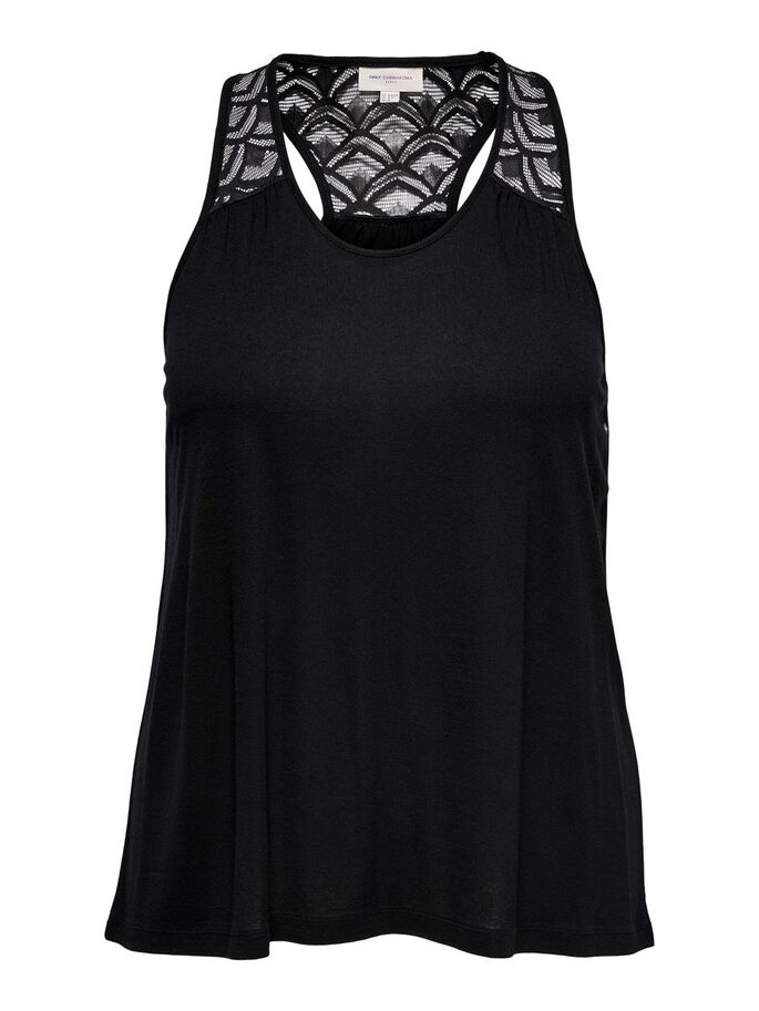 CURVY SOLID COLORED TANK TOP, Black, large