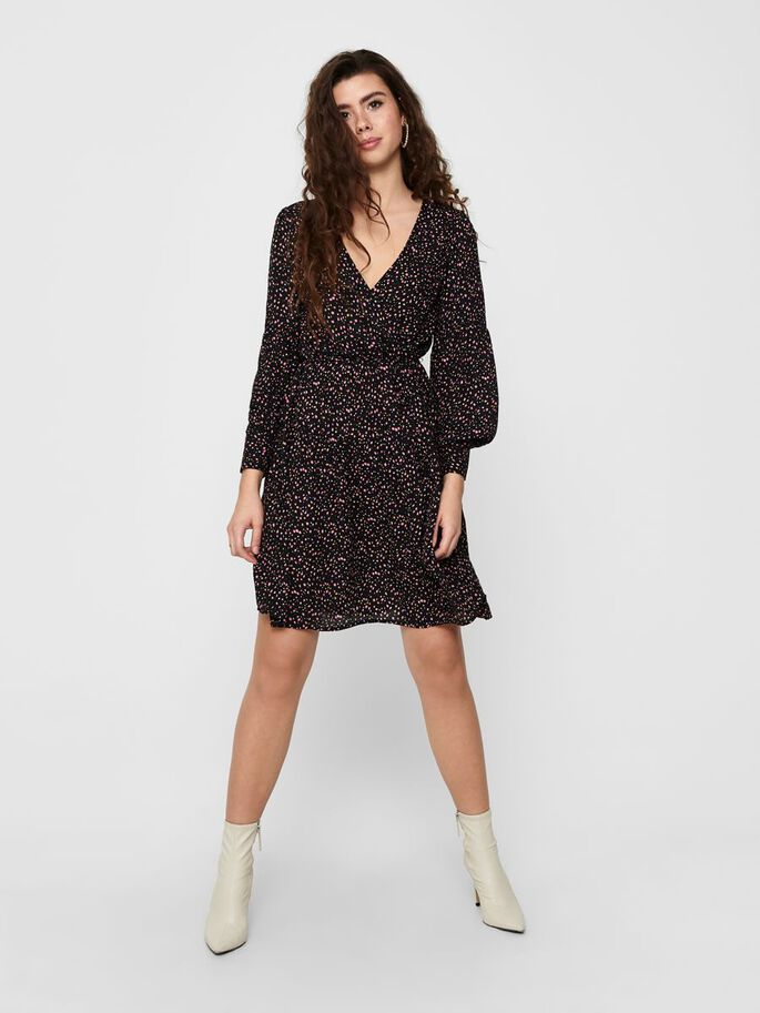 PRINTED WRAP DRESS, Black, large