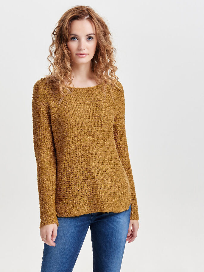 SOLID KNITTED PULLOVER, Chai Tea, large