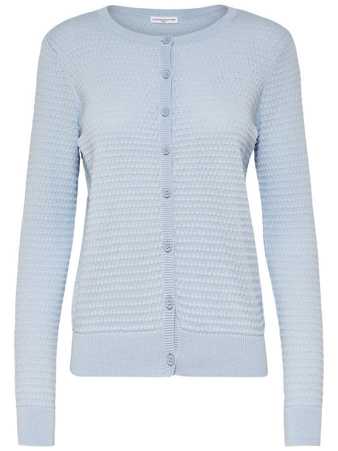 SHORT KNITTED CARDIGAN, Cashmere Blue, large