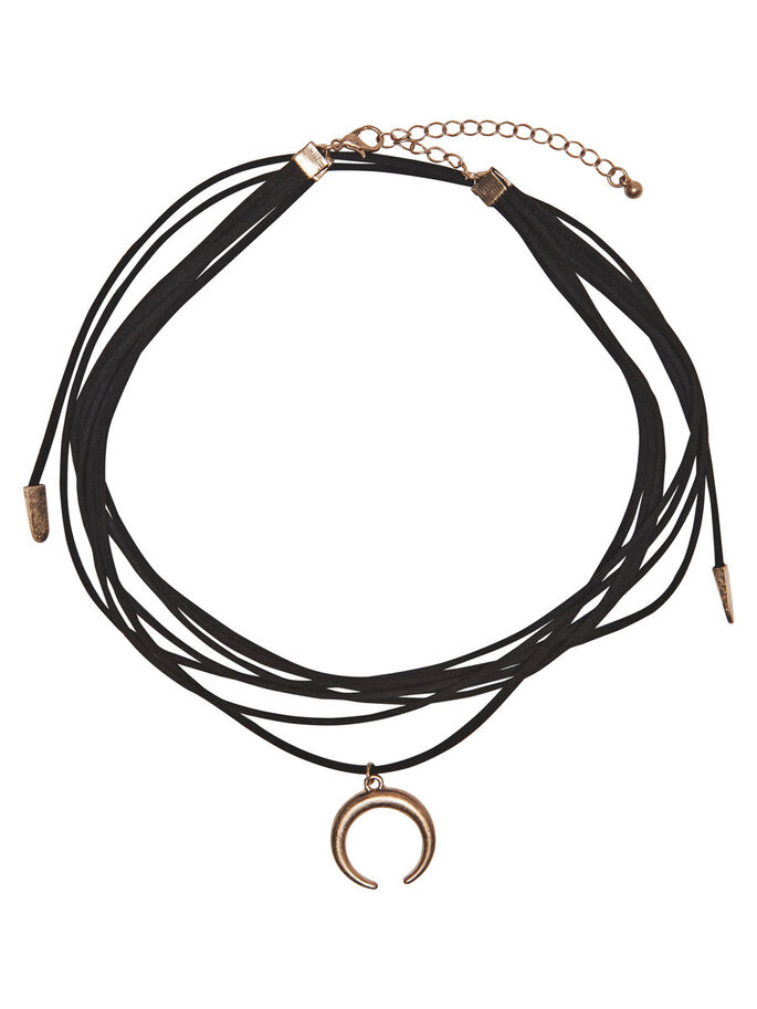 LONG CHOKER NECKLACE, Black, large