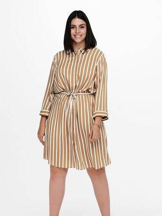 CURVY STRIPED SHIRT DRESS