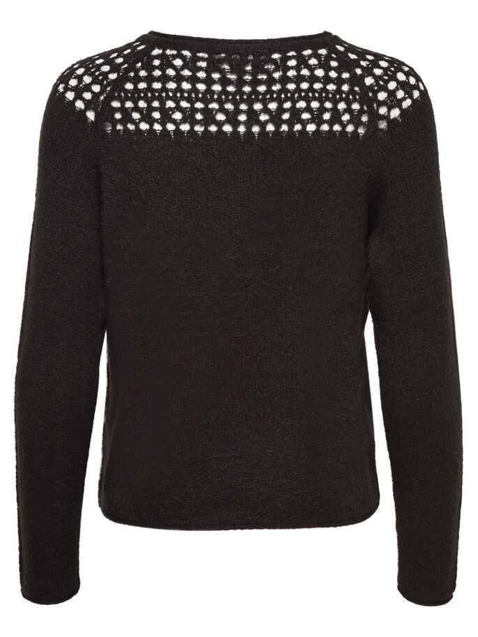 CROCHET STRIKKET PULLOVER, Black, large