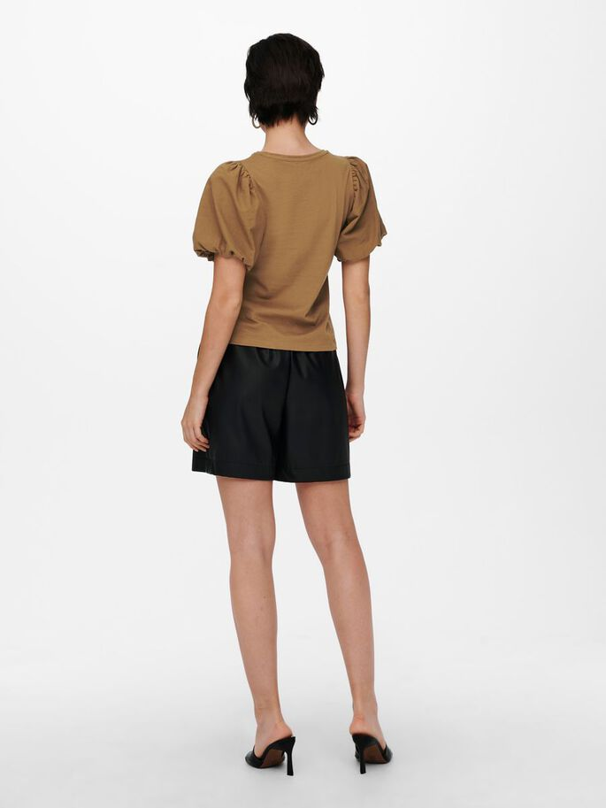 BALLOON SLEEVE TOP, Toasted Coconut, large