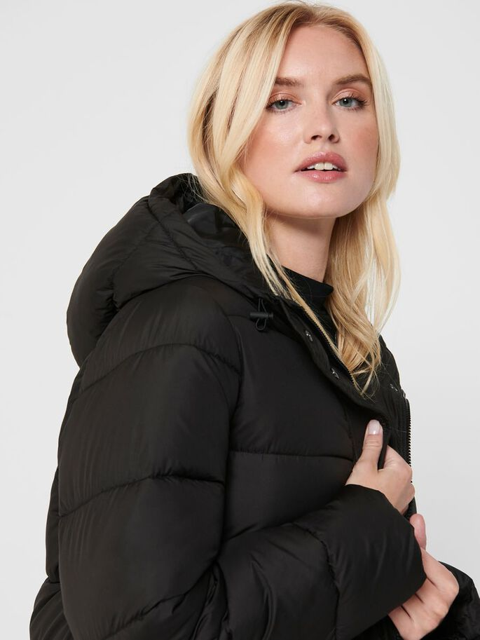 QUILTED COAT, Black, large