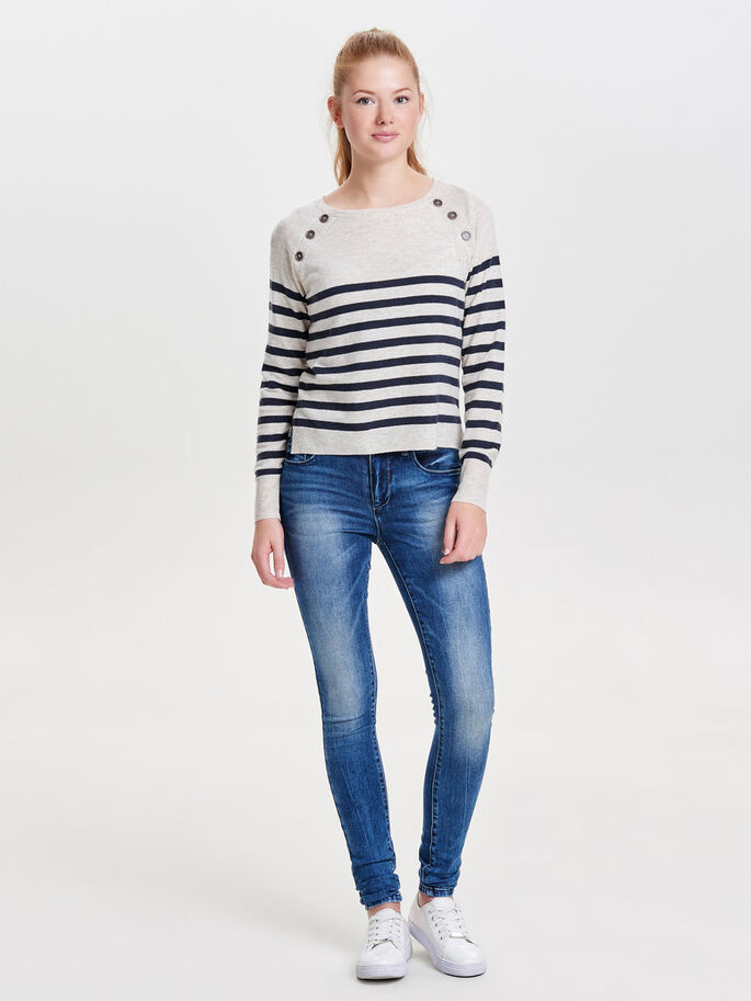 STRIPED KNITTED PULLOVER, Whitecap Gray, large