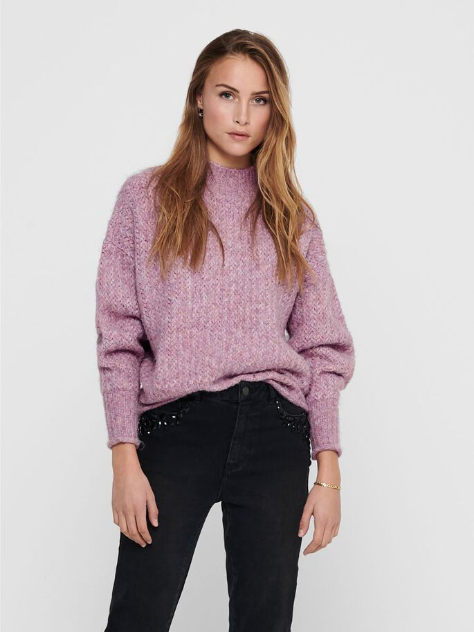 HIGH NECK KNITTED PULLOVER, Elderberry, large