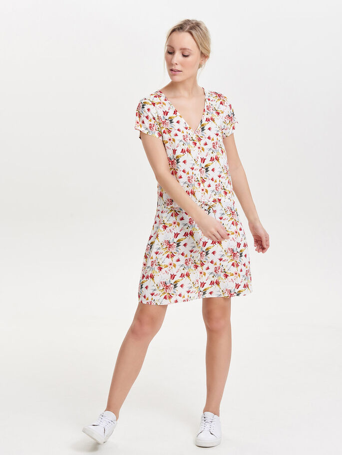 PRINTED SHORT SLEEVED DRESS, Cloud Dancer, large