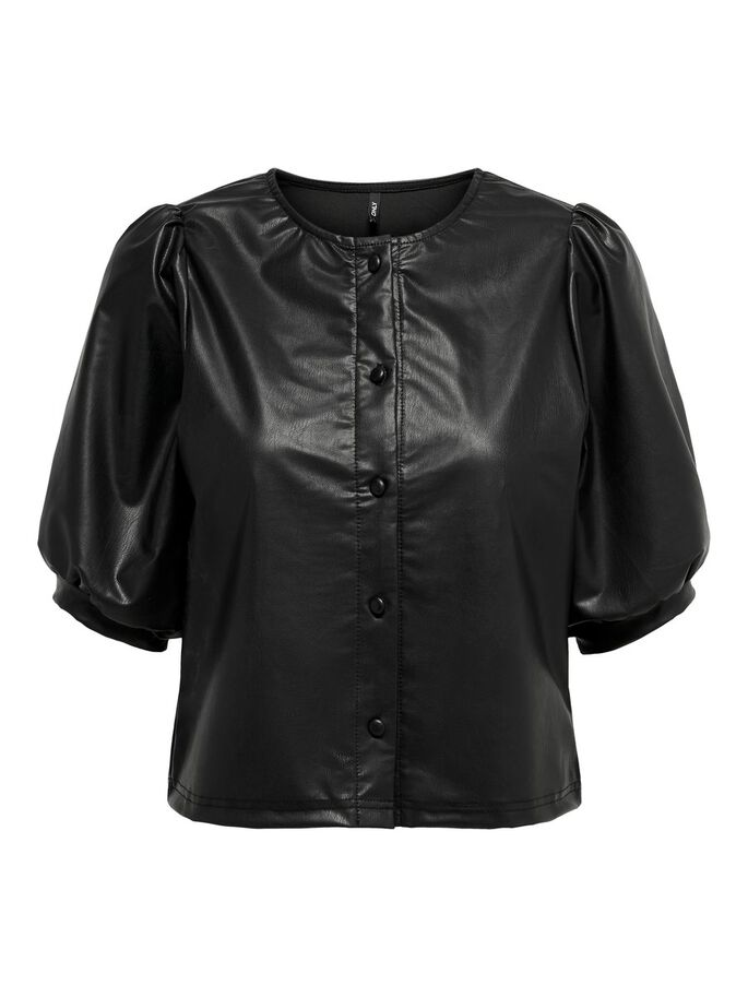 LEATHER LOOK SHORT SLEEVED TOP, Black, large