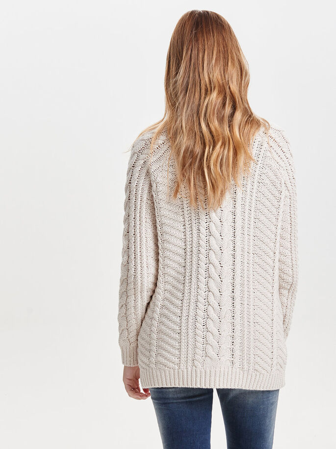 HIGH NECK KNITTED PULLOVER, Pumice Stone, large