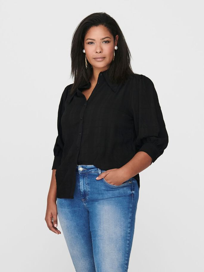 CURVY 3/4 SLEEVED SHIRT, Black, large
