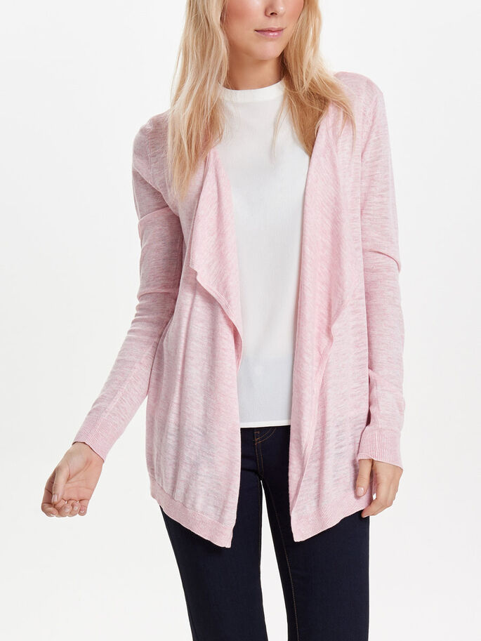 DRAPY KNITTED CARDIGAN, Silver Pink, large