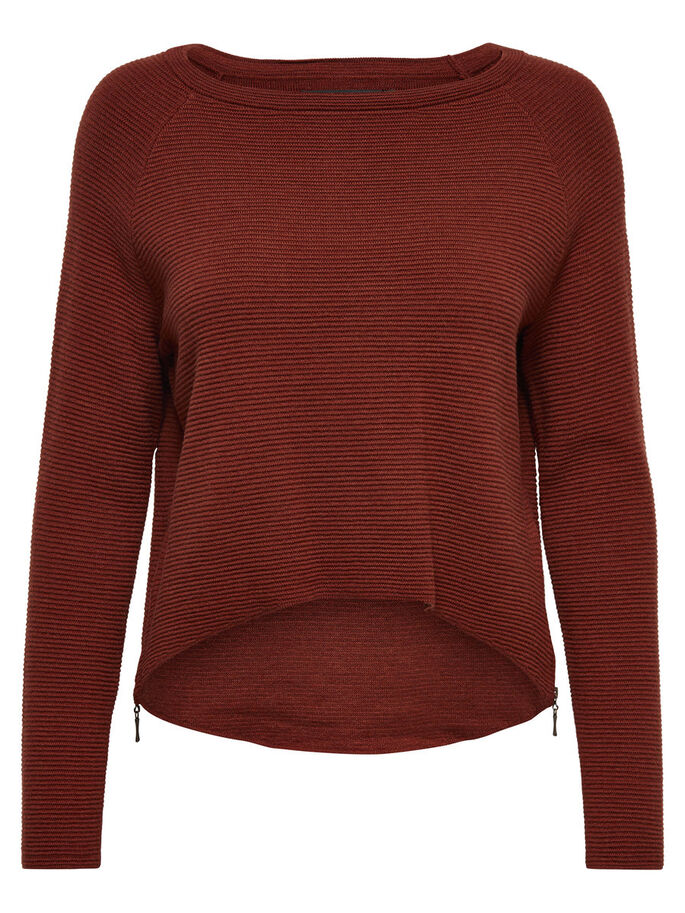 ZIP KNITTED PULLOVER, Henna, large