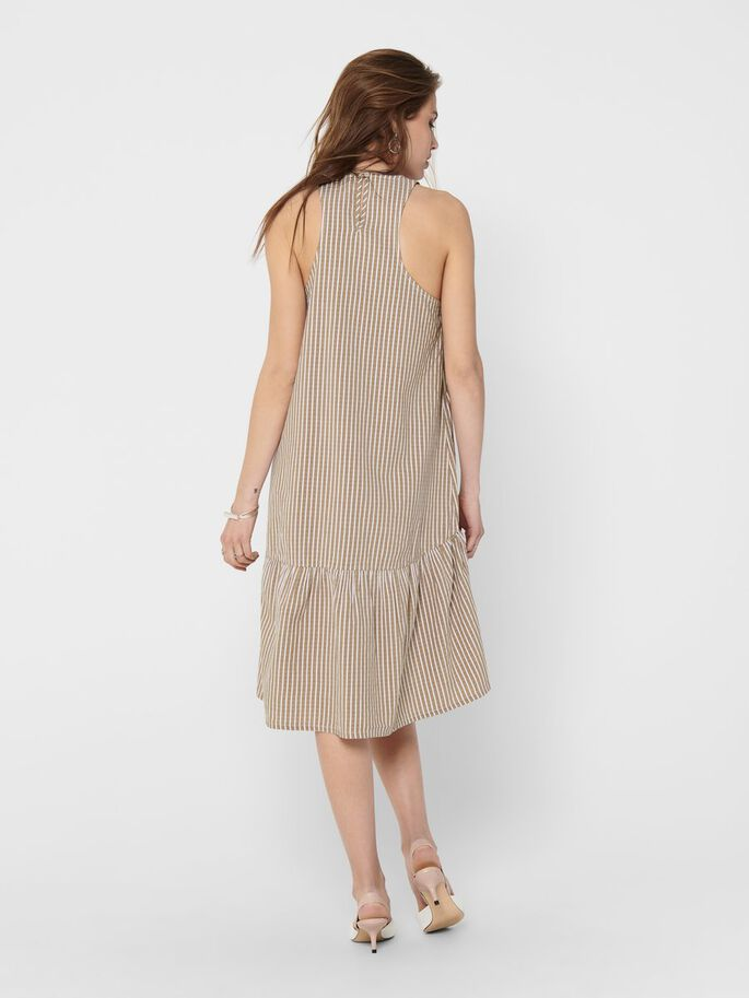 STRIPED MIDI DRESS, Toasted Coconut, large