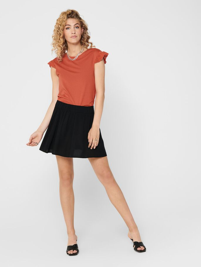 FRILL SLEEVES TOP, Hot Sauce, large