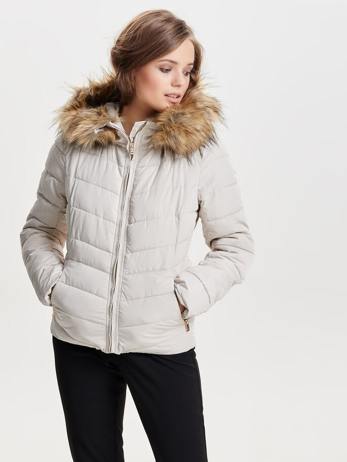 SHORT QUILTED JACKET, Pumice Stone, large