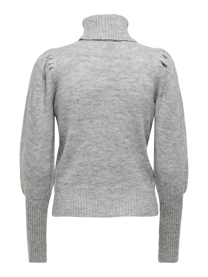 BALLOON KNITTED PULLOVER, Light Grey Melange, large