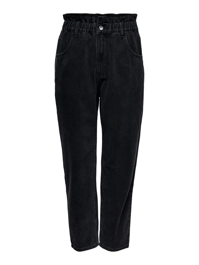 CURVY CAROVE ELASTIC LIFE ANKLE HIGH WAISTED JEANS, Black, large
