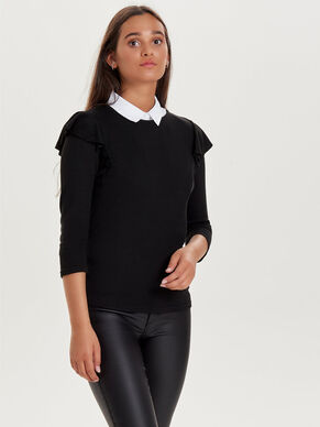 FRILL 3/4 SLEEVED TOP