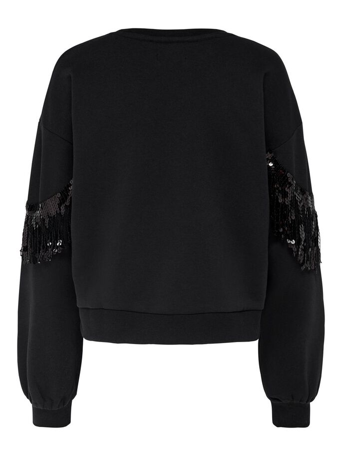 SEQUINS SWEATSHIRT, Black, large