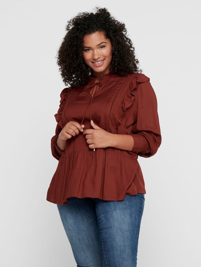 CURVY FRILLS TOP, Fired Brick, large