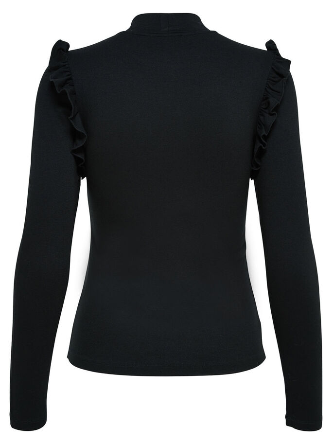 HIGH NECK KNITTED TOP, Black, large
