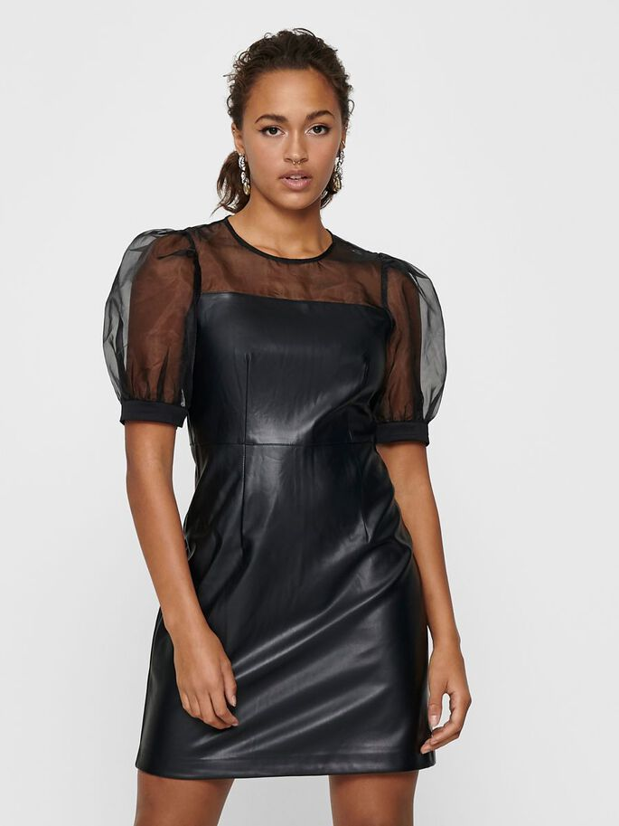 LEATHER LOOK DRESS, Black, large