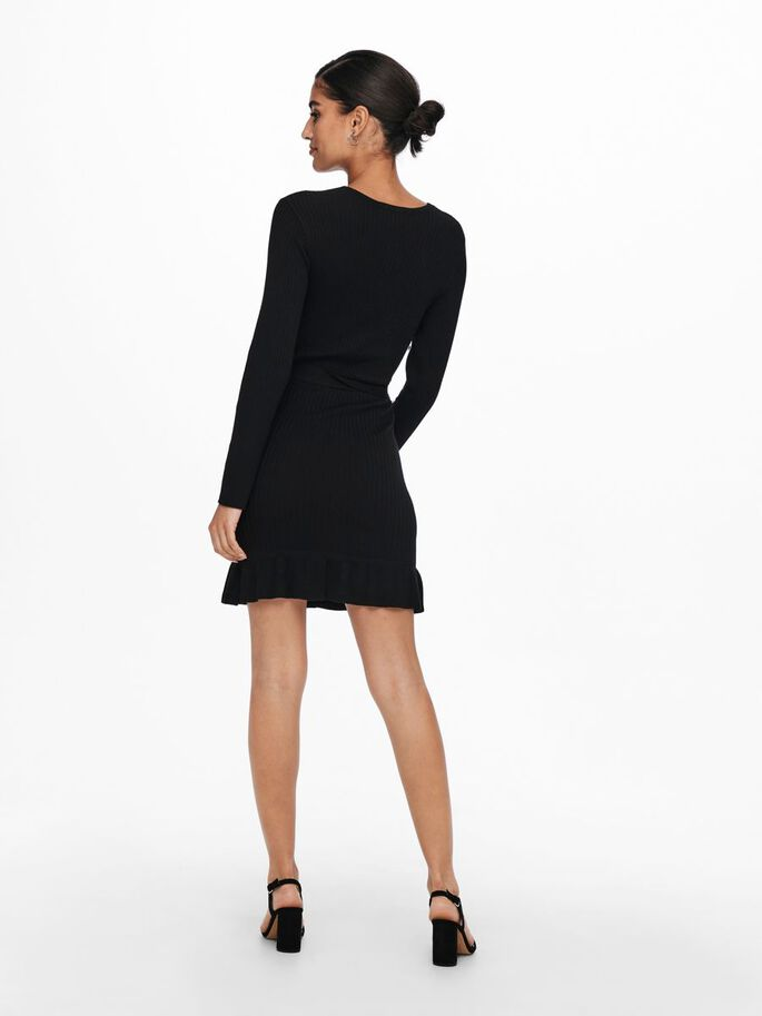WRAP KNITTED DRESS, Black, large