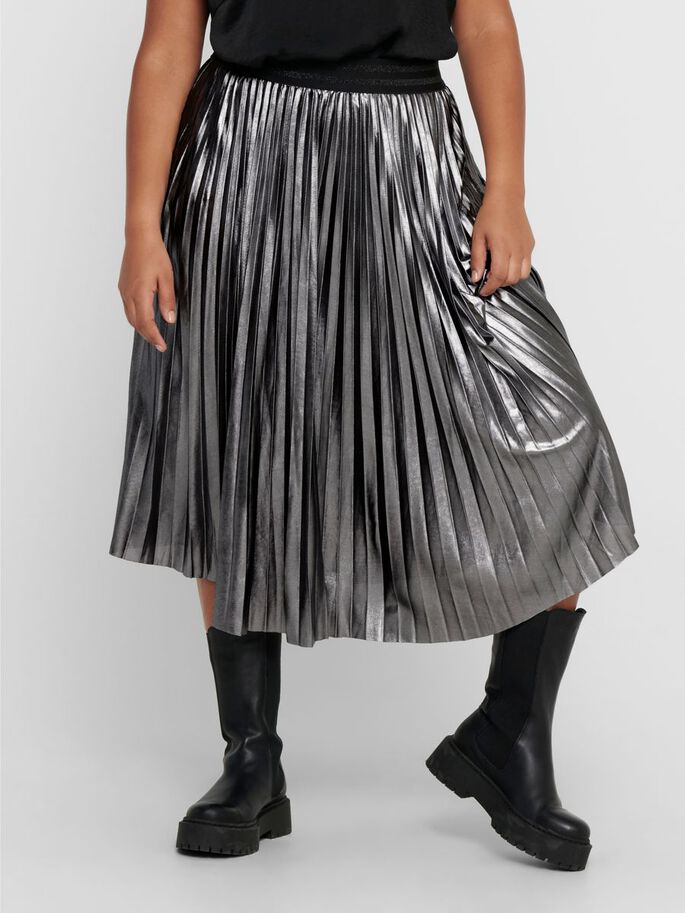 CURVY PLEATED SKIRT, Silver, large
