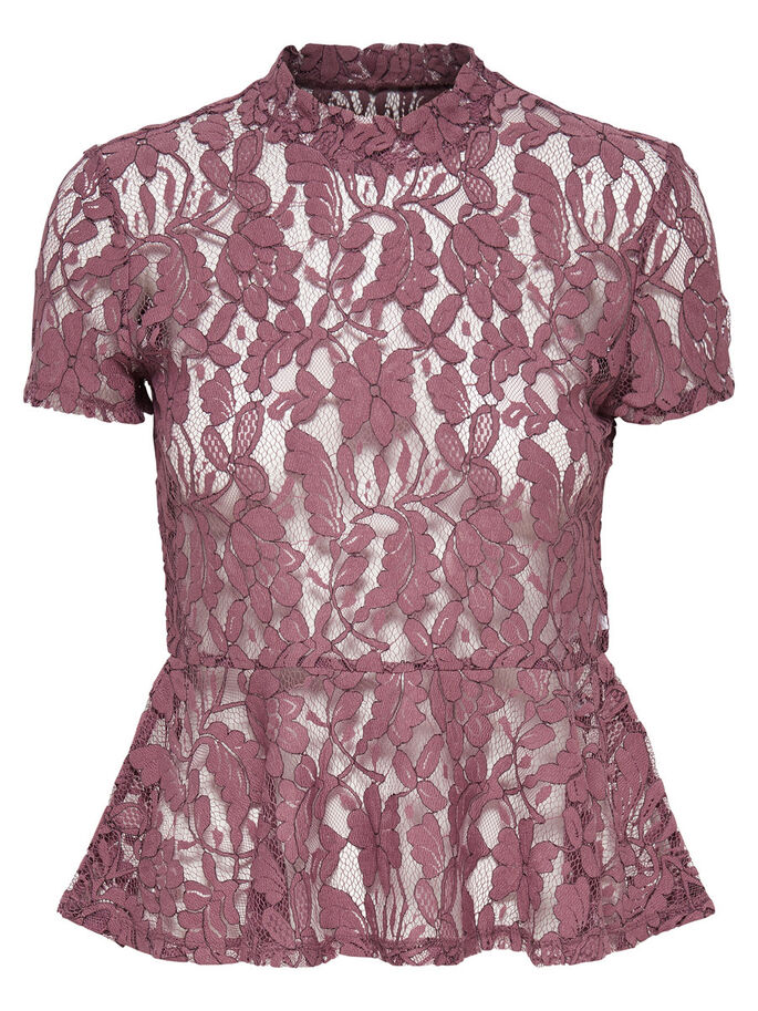 LACE SHORT SLEEVED TOP, Rose Taupe, large