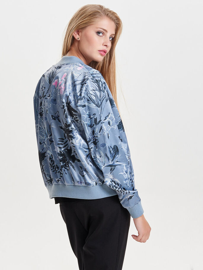 LONG SLEEVED BOMBER JACKET, Silver, large