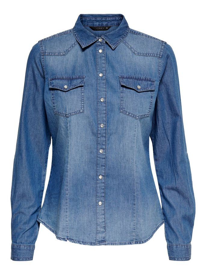 DENIM CAMISA DE MANGA LARGA, Dark Blue Denim, large