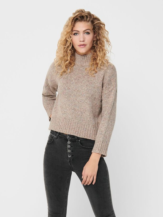 HIGH NECK KNITTED PULLOVER, Simply Taupe, large