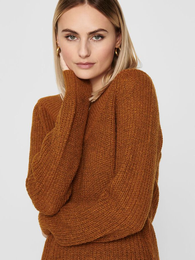 V-NECK KNITTED PULLOVER, Leather Brown, large