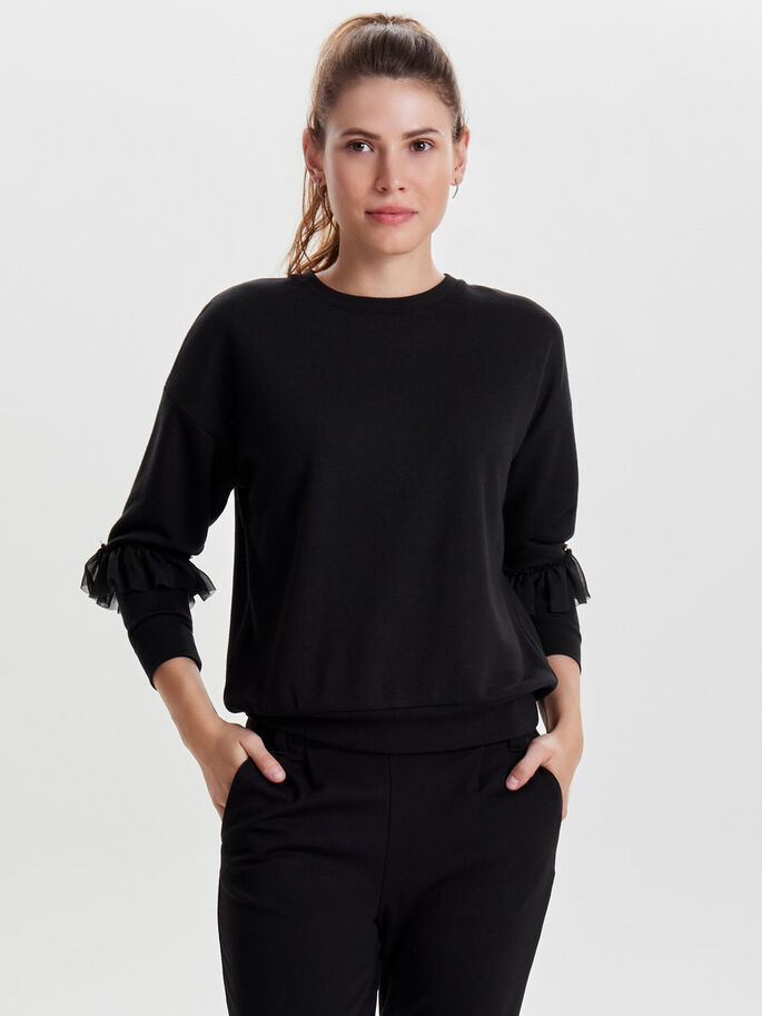 FRILL SWEATSHIRT, Black, large