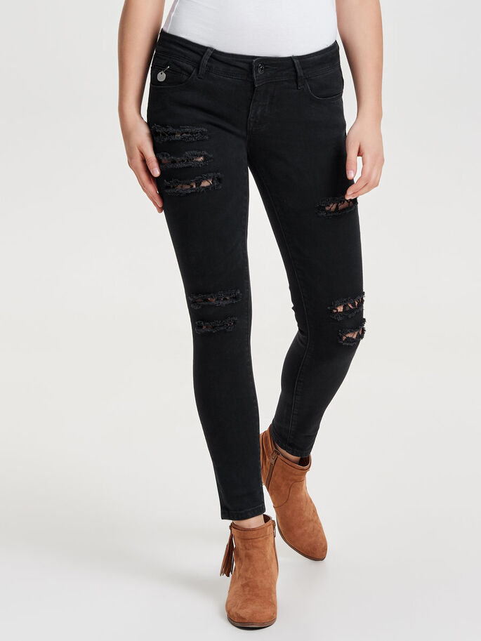 CORAL SL SK LACE ANKLE SKINNY FIT JEANS, Black, large