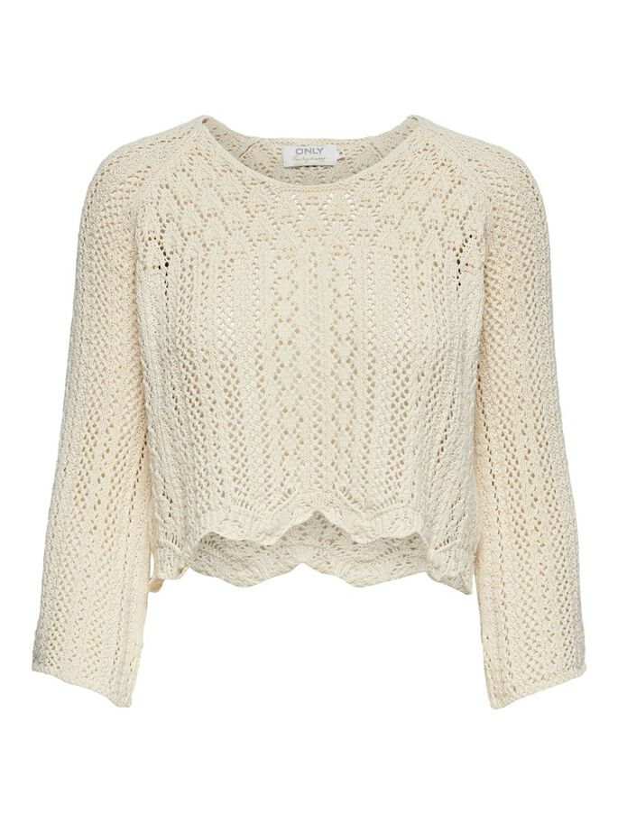 CROPPED KNITTED PULLOVER, Cloud Dancer, large