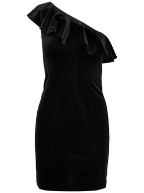 ONE SHOULDER VELVET SLEEVELESS DRESS