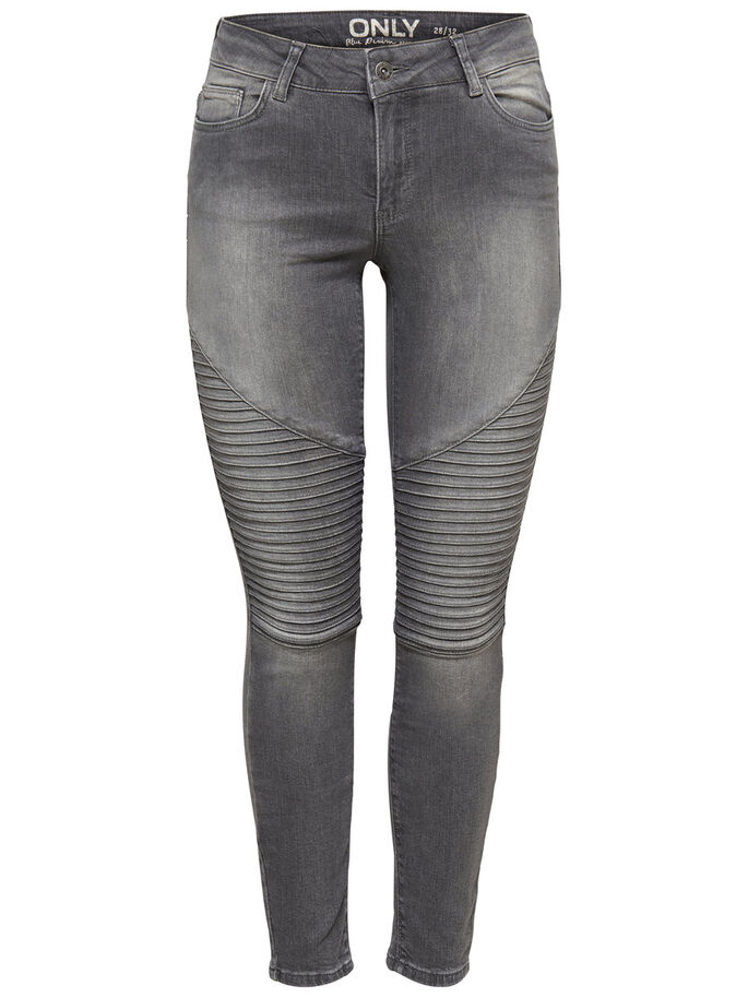 CARMEN REG BIKER SKINNY FIT JEANS, Grey Denim, large