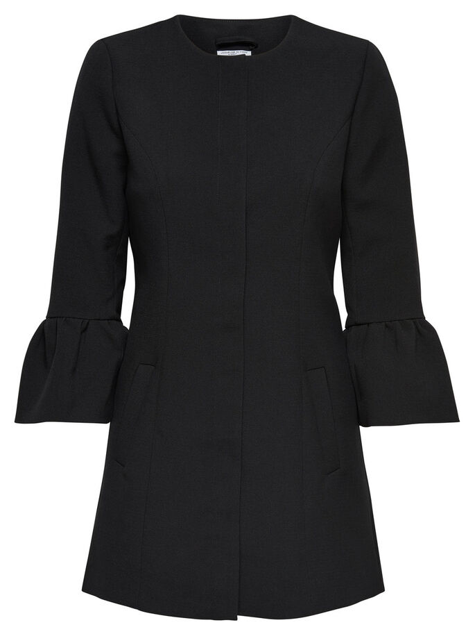FRILL COAT, Black, large