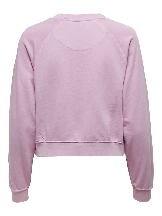 SMILEY FRONT PRINT SWEATSHIRT, Orchid Bloom, large