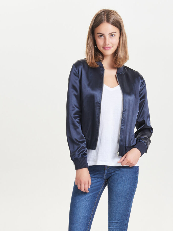 SHINY BOMBER JACKET, Dark Blue, large