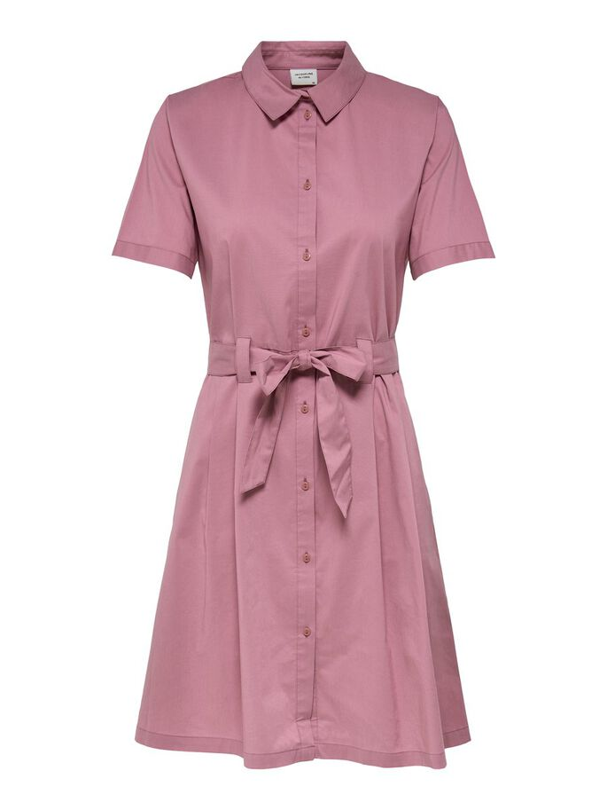 TIE BELT SHIRT DRESS, Heather Rose, large