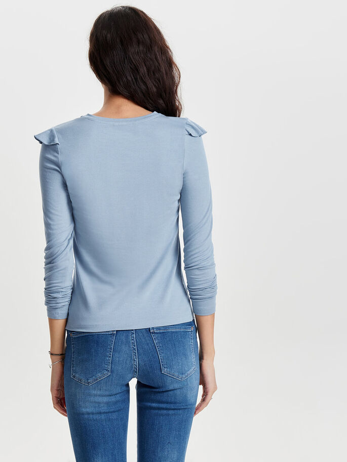 FRILL LONG SLEEVED TOP, Faded Denim, large
