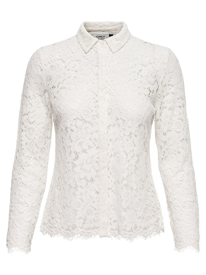 LACE LONG SLEEVED SHIRT, Cloud Dancer, large